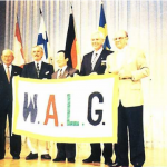 WALG Flag ceremony. L – R Mr Karakami Japan, Glen Summers Australia, Tomutsu Waki Japan, Peter Read Australia, Secretary WALG and Doug Crosby Australia, Chairman WALG.