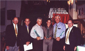 World Champions Germany 2000 L – R Doug Crosby Chairman WALG, Andy Gereigner Resort Manager, Felix Bertucci World Champion (USA), Claudia Popp Lady Champion, (Germany), Peter Read Senior Champion (Australia and Martin Poertner President NALG (Germany).