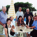 L – R Doug Crosby (Australia), Renate Gloeckle (Germany), Wolfgang Leidle (Austria), George  Baumann (Germany), Marie-Luise Deubl (Germany), George Winter and Christa Baumann (Austria) and Viktor Regner (Austria). Relaxing poolside at the Don Carlos Hotel on the Costa Del Sol.