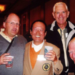L – R Martin Poertner (Germany) Tom Waki (Japan) Peter Read (Aust) John Garth (Aust) enjoying some camaraderie during the tournament