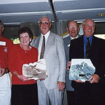 World Champions, Canada 2003. L – R Ray Canonico Super Senior Champion (USA), Marlene Garth Lady Champ[ion (Australia), Bob Zimmerman President NALG (Canada), Doug Crosby Chairman WALG, Noel Bond Senior Champion (Austrlaia) and Dean Lewis World Champion (Canada).