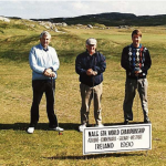 L – R Peter Read Australia, Joe King Ireland, P. Naylor England. On the 1st Tee at Connemara Golf Course was Connemara. Note the 'moonscape' of the course, situated alongside the North Atlantic coastline, wind was very strong and cold. No trees, just moon rocks, wispy grass and wind